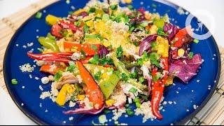 Теплый гриль-салат из овощей с киноа