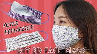 DIY 3D FACE MASK - Washable & Reusable &  Filter Pocket  face mask/필터교체형 마스크만들기