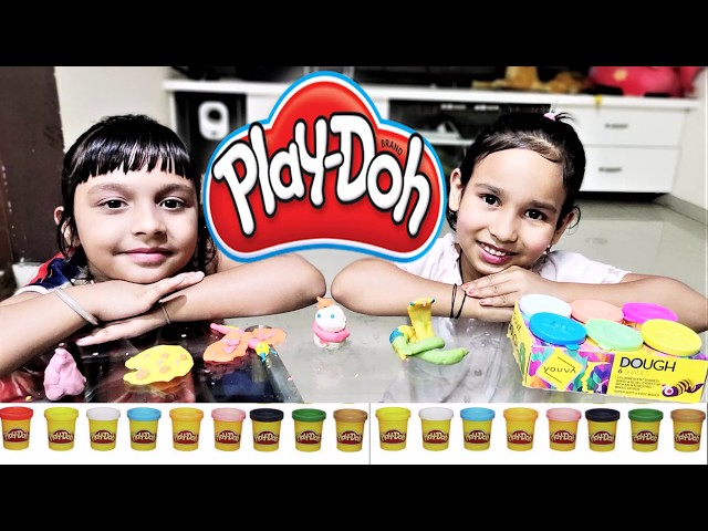 Playing with clay in hindi /Play Doh Kids /Playing with playdough/Pari And Priyanshi/Learn With Pari