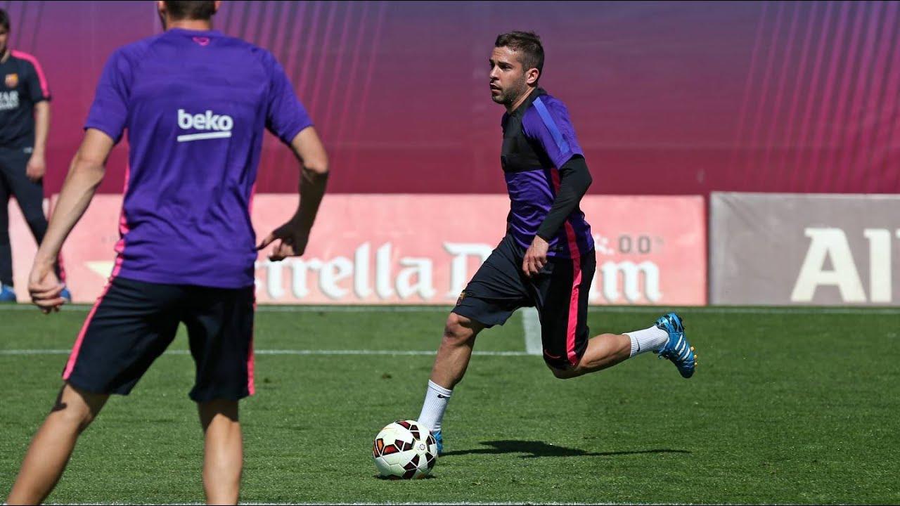 Training session 9 4 15 Jordi Alba trains but not yet declared