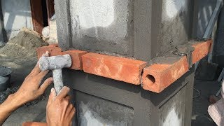 Construction Technology - Rendering Sand And Cement In To The Column Foot, Construction Daily