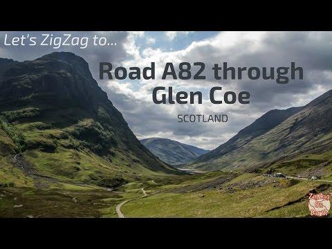 Driving on Road A82 through Glen Coe Scotland