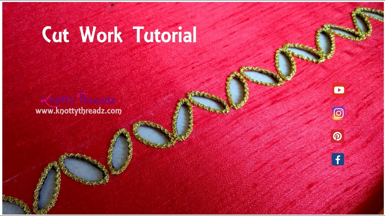 How to do cut work blouse design hand embroidery