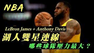 「NBA」湖人LeBron James+Anthony Davis雙星連線,哪些球隊壓力最大?(Johnny聊nba)