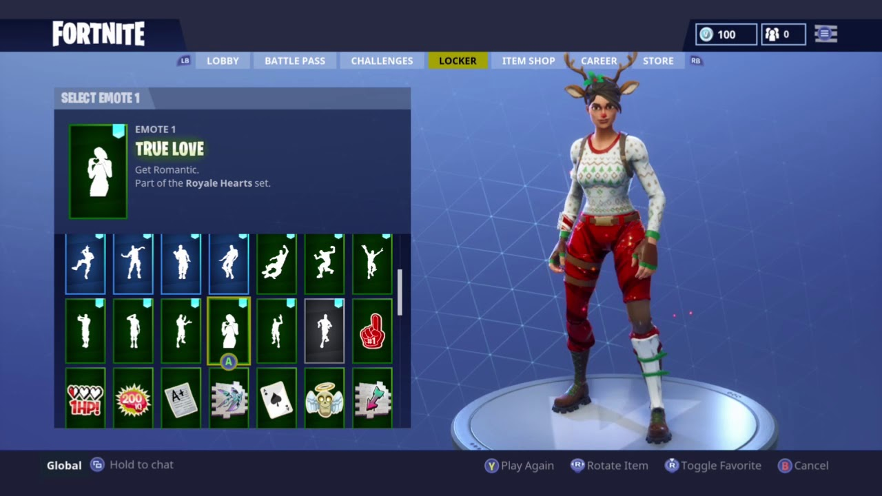 Fortnite Red Nosed Raider Skin Showcased With 45 Dances Back