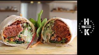 Beetroot Falafel & Cucumber Yogurt Wrap