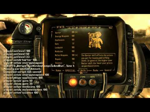 Skills and Special Stats Cheat for Fallout New Vegas - YouTube