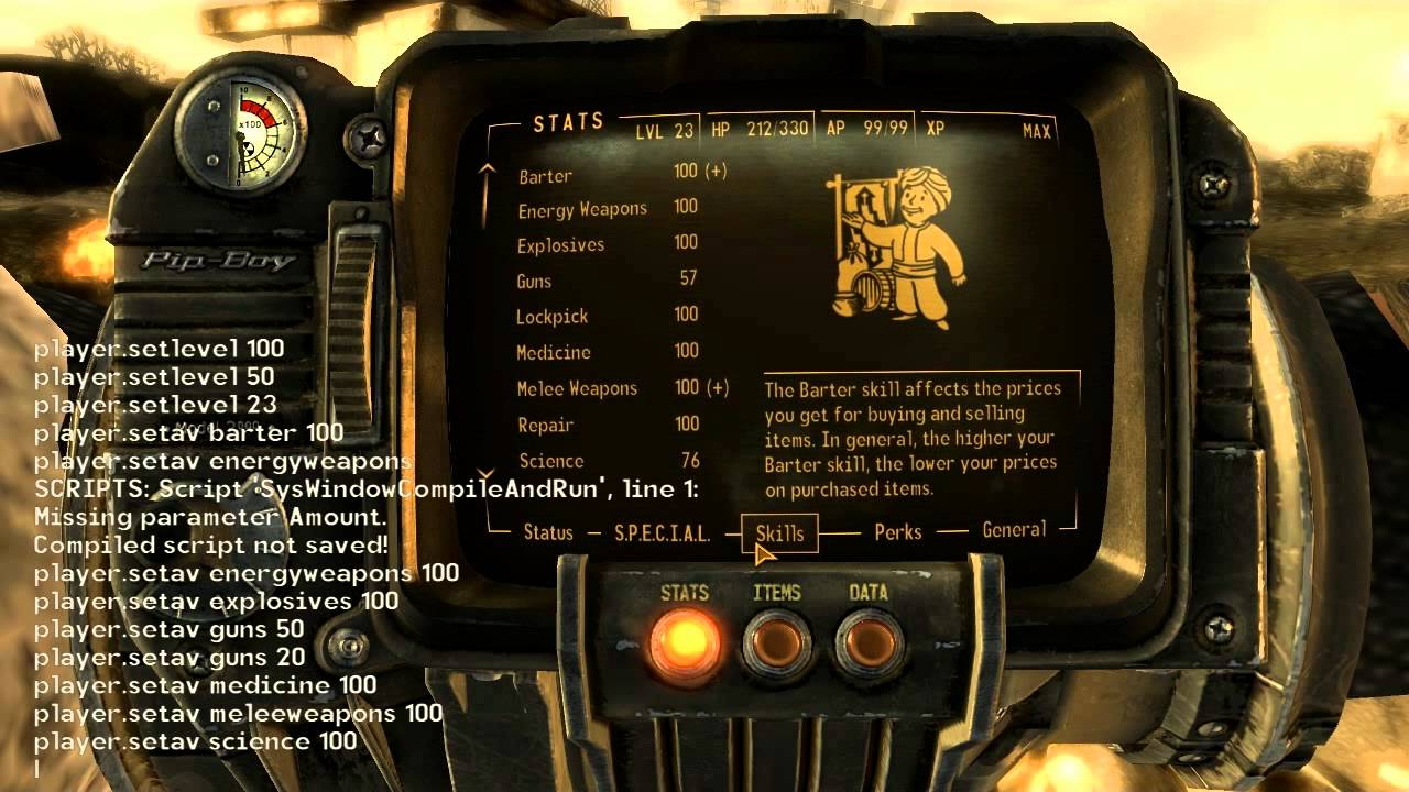 Skills and Special Stats Cheat for Fallout New Vegas