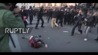 France: Police throw protester into ground head first at Paris election demo