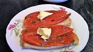 Закуска из запеченного перца для бутербродов./Перец в духовке./Рецепт запеченного перца в духовке.