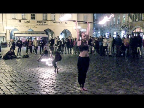 Jugglers Play With Fire in Prague, Old Town Square. Great Street Artists