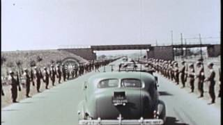 US President Harry Truman inspects United States soldiers and honors four foreign...HD Stock Footage