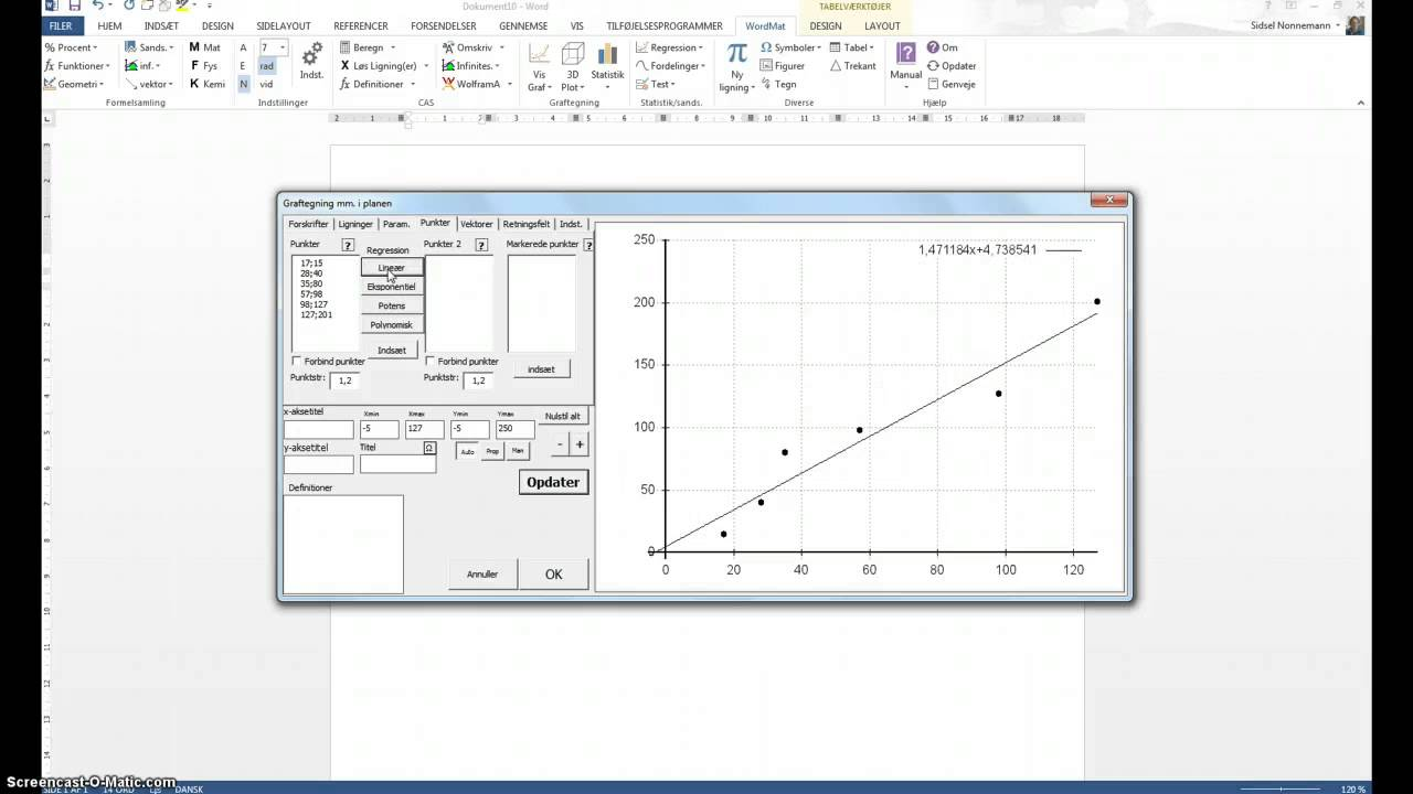 Lineær regression med WordMat på Mac