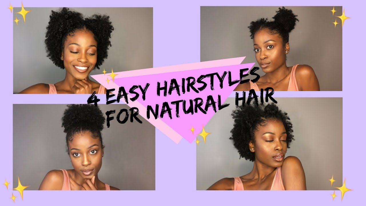 4 Easy Hairstyles For Natural Hair 4a 3c Hair Youtube