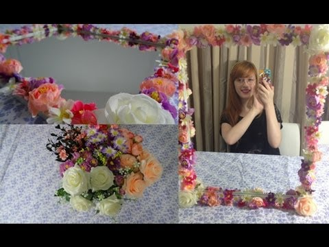 diy espelho com moldura de flores youtube. Black Bedroom Furniture Sets. Home Design Ideas