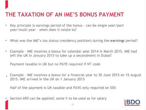 BDO Human Capital webinar: taxation of Internationally Mobile employees (IME's)