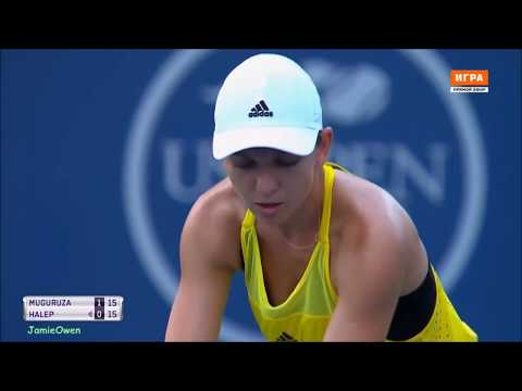 Garbine Muguruza vs Simona Halep 2017 Cincinnati Highlights