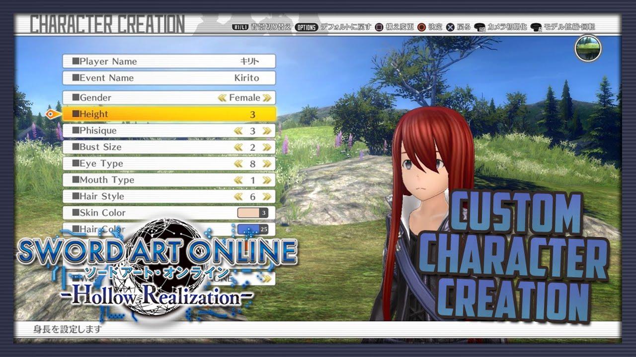 custom character creation breakdown sword art online hollow