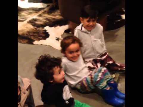 Bruno Mars and his nephews celebrating Christmas 2013