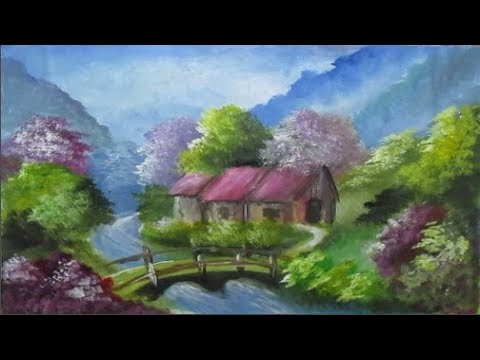How to Draw Village in the Mountains | Acrylic Landscape Painting | Learn Videos For Kids