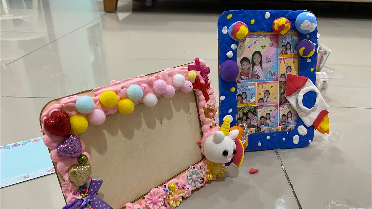 DIY Menghias Pigura dengan Cream Clay | DIY Unicorn and Galaxy Photo Frame