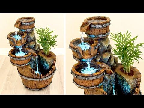DIY Concrete Barrel Waterfall Fountain Pot ✔️ Faux Bois Tutorial ✔️ Fake Wood Crafts