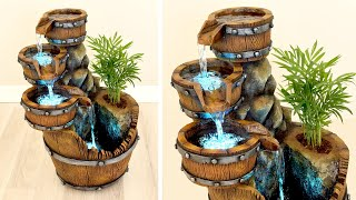 DIY Concrete Barrel Waterfall Fountain Pot ✔️ Faux Bois Tutorial ✔️ Fake Wood Crafts