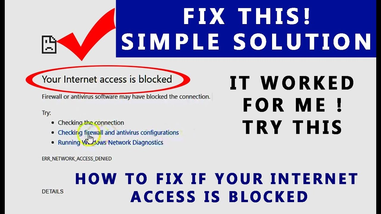 Fix - Your Internet access is blocked error | How to fix | Solution
