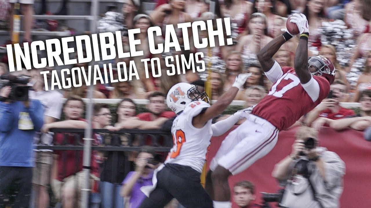 Watch Alabama's Cam Sims make a ridiculous touchdown catch