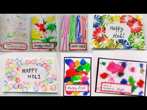 7 Special Holi Cards/Handmade Holi Cards For Kids/Happy Holi 2019/Colorful Holi Card Making