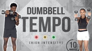 10 Minute Dumbbell Tempo HIIT Workout (Full Body/Light Weight)