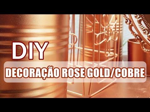 DIY decoração Rose Gold/cobre - bancada de maquiagem
