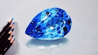 How to draw a Blue topaz (Gem stone) Tutorial - Derwent coloursoft pencils.
