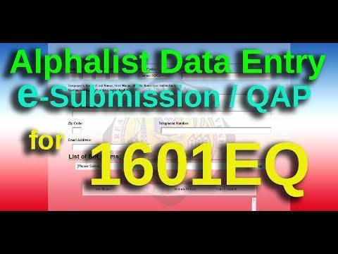 Alplalist of Payees 1601EQ e-Submission QAP