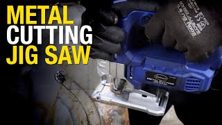 Makes Curved or Straight Cuts in Thick or Thin Metal:  Metal Cutting Jig Saw from Eastwood