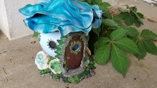 Blue Flower Fairy House