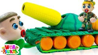 Vui Học cùng bé Luka 🌽 Đồ Chơi Xe Tăng Rau Củ 🌽 Tập 255 Hoạt hình Vui Nhộn Cho Trẻ Em