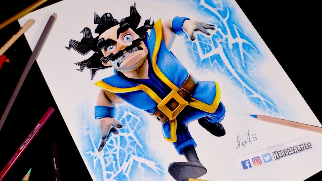 Dibujando Al Mago Eléctrico: Como Dibujo Al Mago Eléctrico De Clash Royale