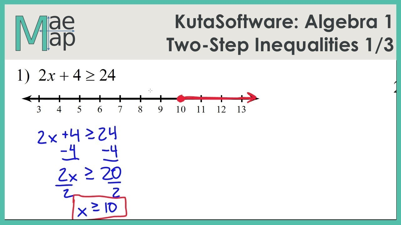 Kutasoftware Algebra 1 Two Step Inequalities Part 1 Youtube