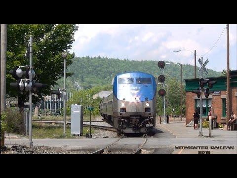 [HD] Amtraks Vermonter Arriving & Departing Bellows Falls VT 5/27/15