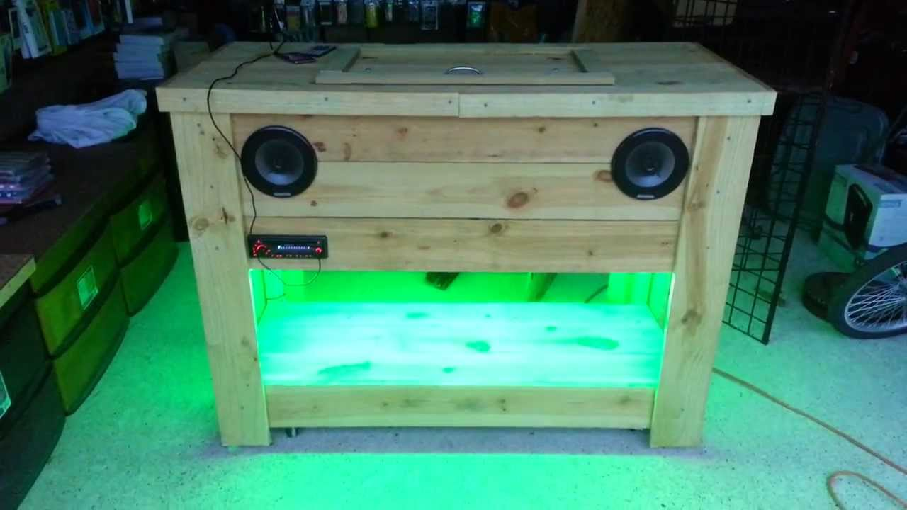 Wooden Ice Chest With Led Lights And Stereo Part2 Youtube