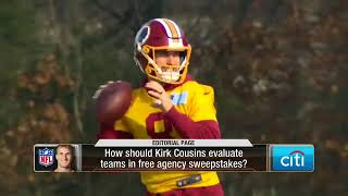 Who will sign quarterback Kirk Cousins in 2018?