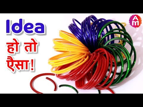Best out of waste  old Bangles and Wool Craft Idea | DIY HOME DECOR | Artsy Madhu 41