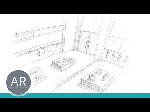 Retail Design studieren – Zeichnen lernen – Räume planen und zeichnen – Studium, Mappenkurs, Mappe