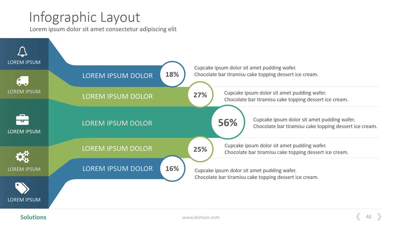 Mẫu PowerPoint báo cáo cực đẹp làm Inforgraphic – solutions powerpoint presentation template