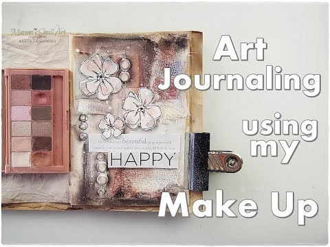 Art Journaling using my Make Up ♡ No Art Supplies ♡ No Cost Craft ♡ Maremi's Small Art ♡