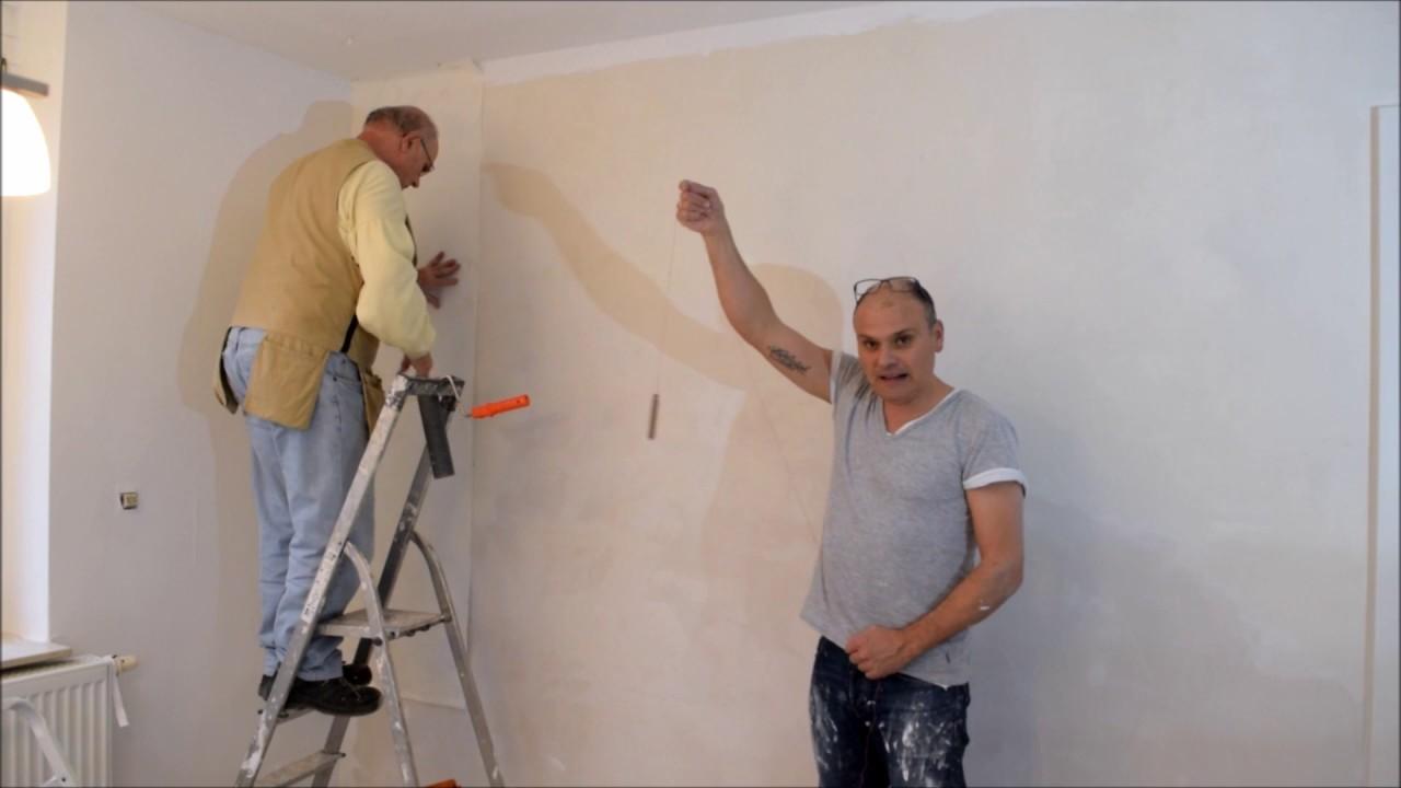 projekt k che renovieren teil 9 w nde tapezieren youtube. Black Bedroom Furniture Sets. Home Design Ideas