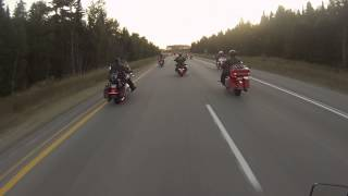 Leaving Gaylord, MI  LOOK AT THIS LINE OF BIKES ON THE HIGHWAY!!! For the MIdnight Ride 2013