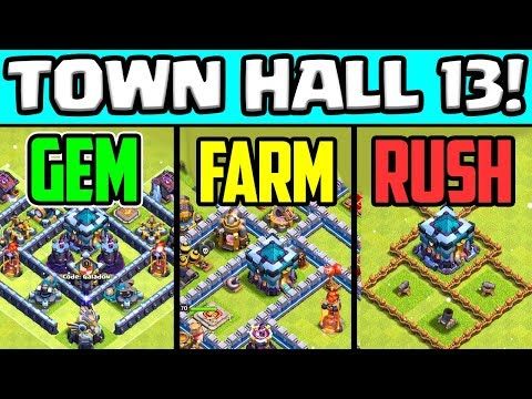 Town Hall 13 Times THREE! Clash Of Clans UPDATE FREE Gems!