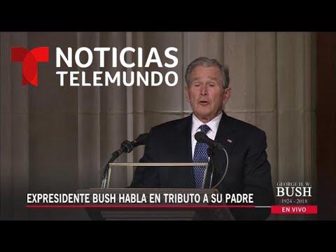 El expresidente George Bush rinde tributo a su padre | Noticias Telemundo